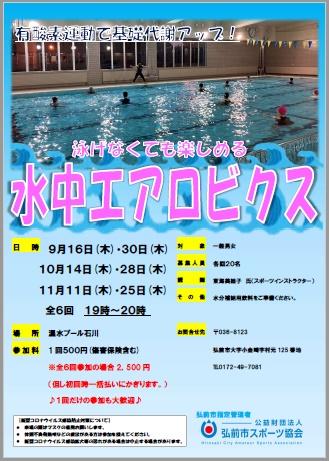 泳げなくても楽しめる 水中エアロビクス